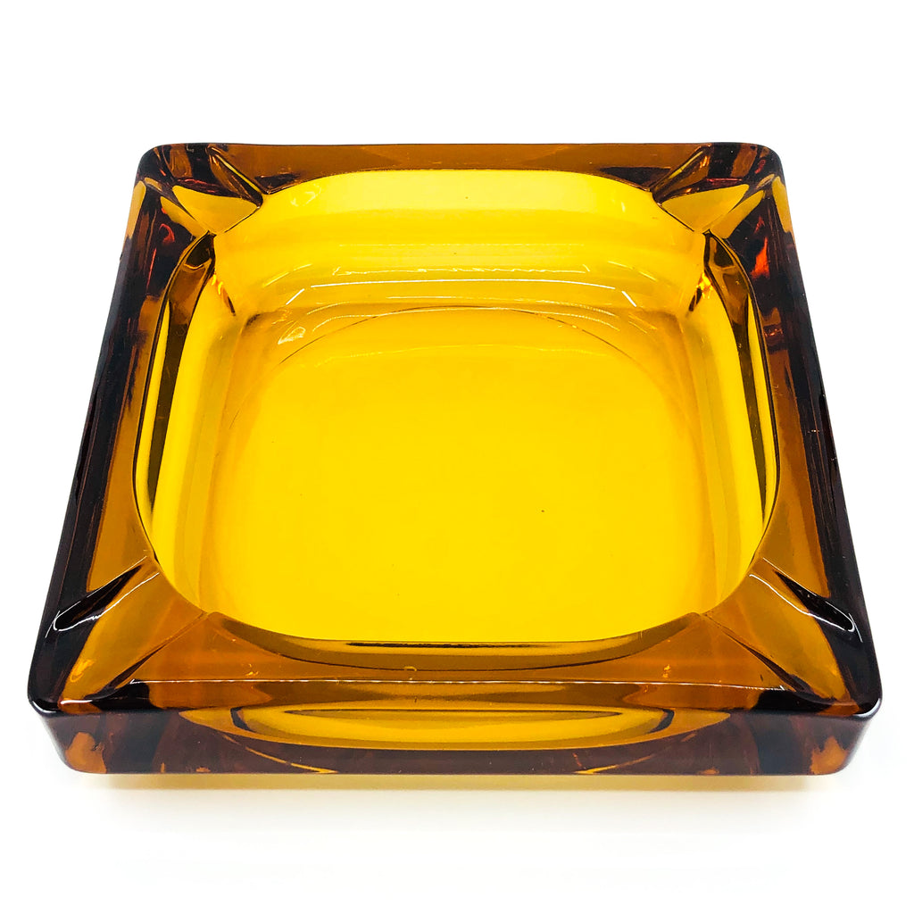 Vintage Amber Glass Square Ashtray, Heavy