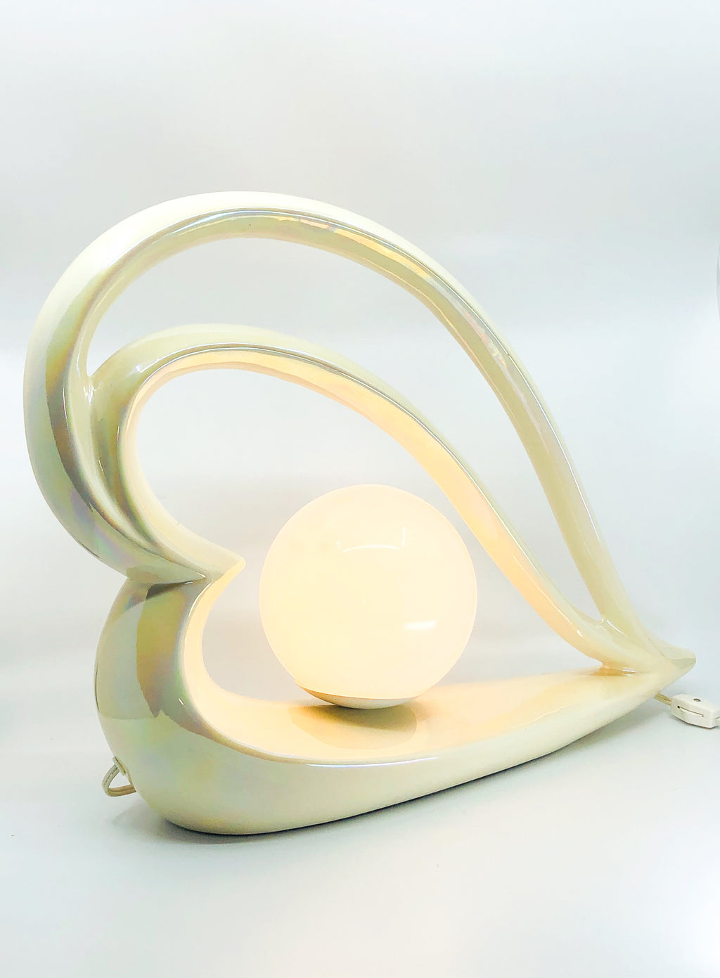 Pair of Deco Revival Opalescent Heart Shape Table Lamps