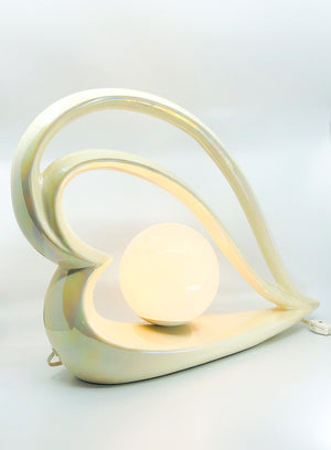 Pair of Deco Revival Opalescent Heart Shape Table Lamp