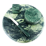 Green Marble Cheese Board Set, 8 Coasters
