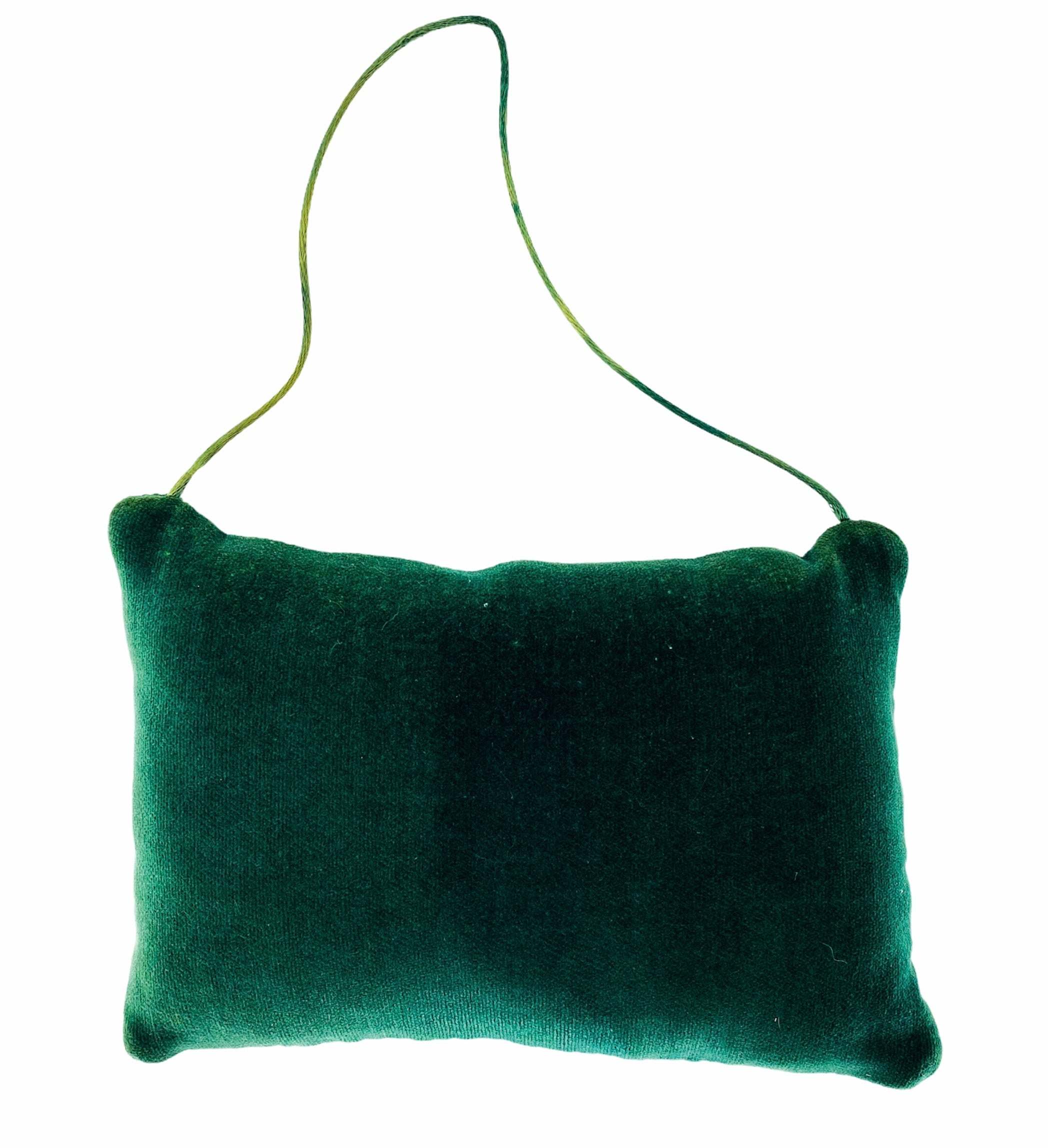 "1980s ""Damper Is Closed"" Green Needlepoint/Velvet Hanging Fireplace Pillow"