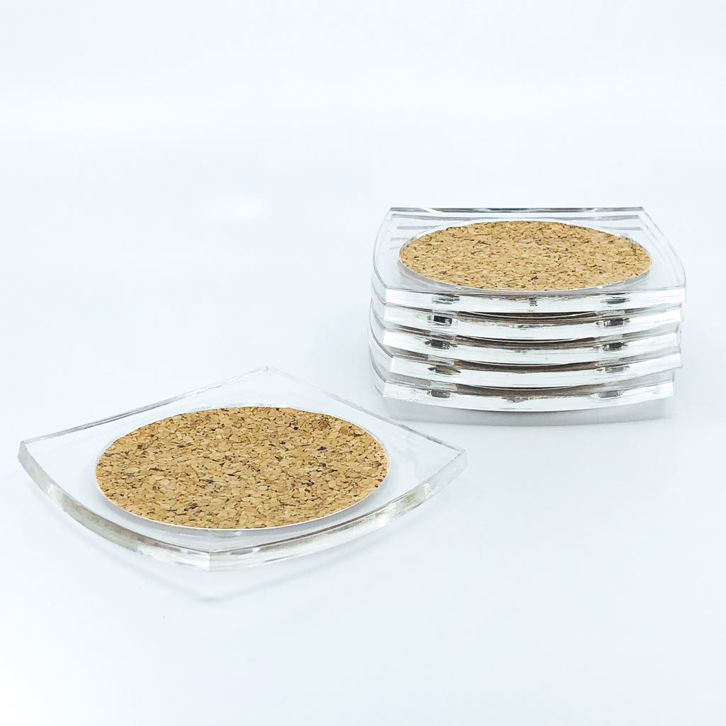 S/6 Square Lucite and Cork Coasters
