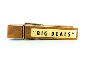 "Vintage ""Big Deals"" Giant Wooden Clothespin Paperclip Holder"