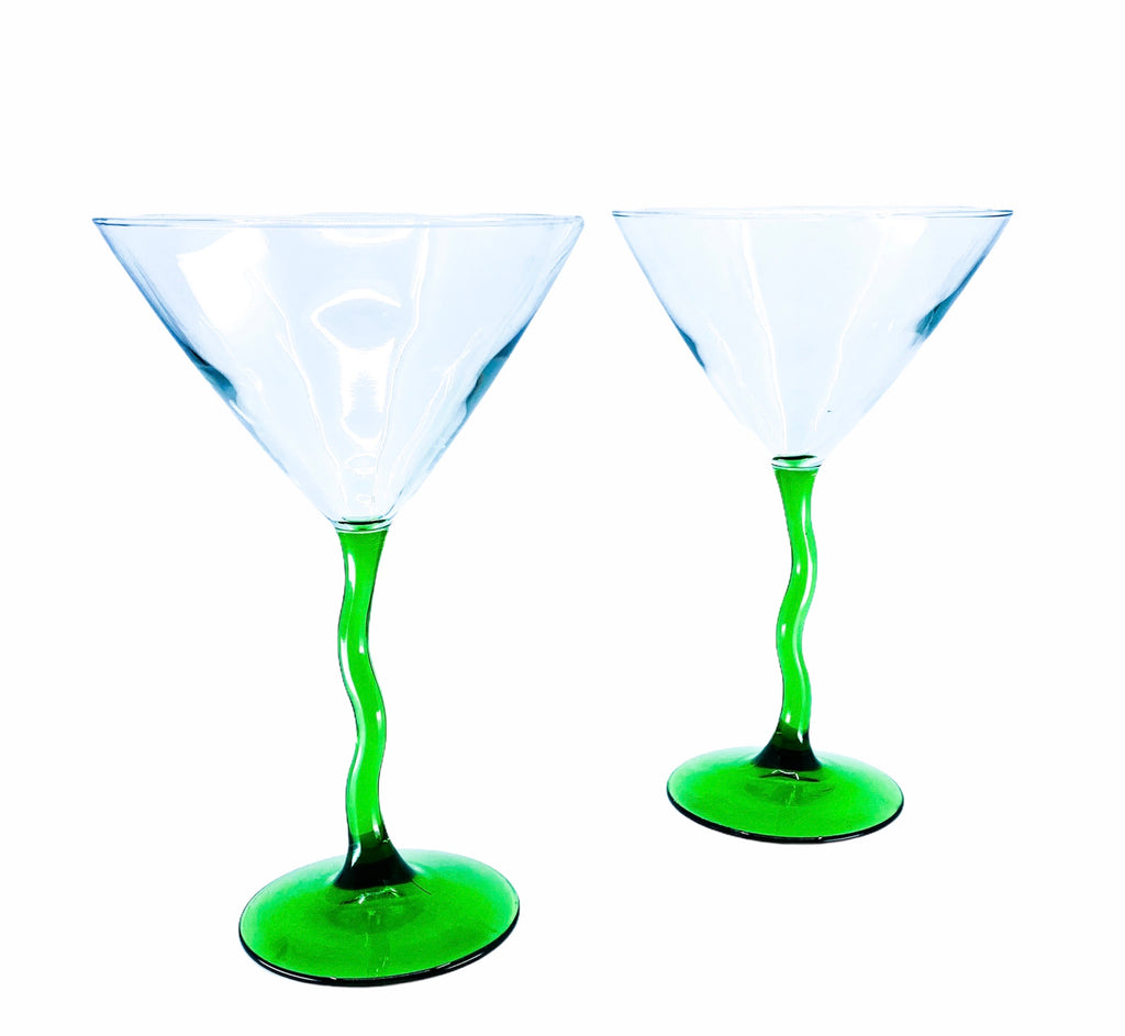 Green Wiggly Stem Martini Glasses
