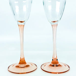 S/2 Peach Stem Champagne Glasses