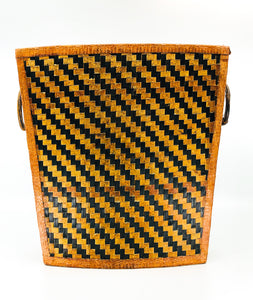 Vintage Woven Leather Magazine Holder