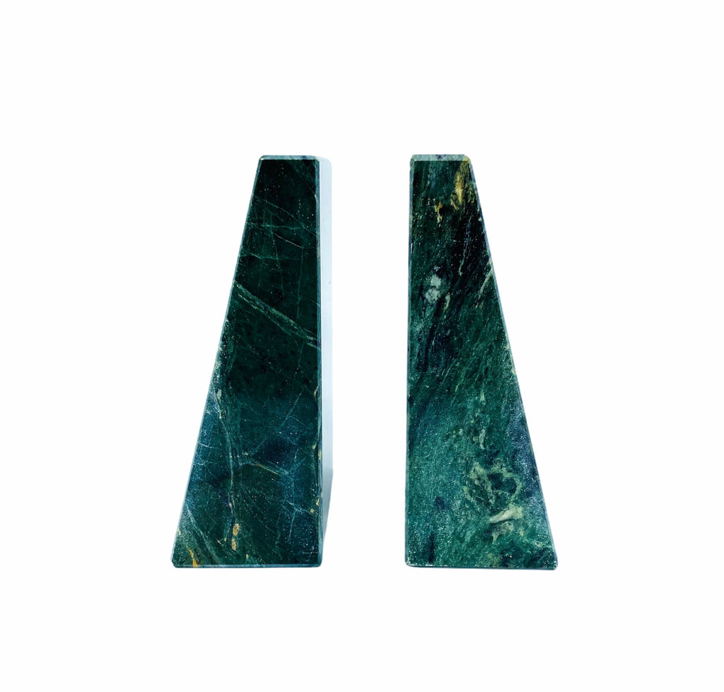 Solid Green Marble Geometric Bookends