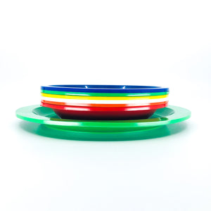 S/7 Vintage Ingrid Multicolor Plastic Plates - 1 Large, 6 Small