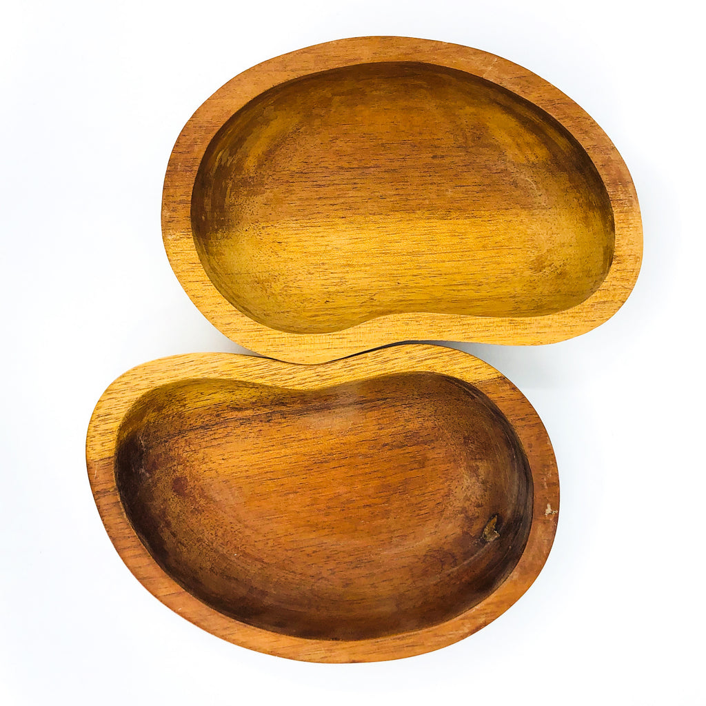 S/2 Monkey Pod Wood Kidney Shaped Bowls / Catch All, 2 Available