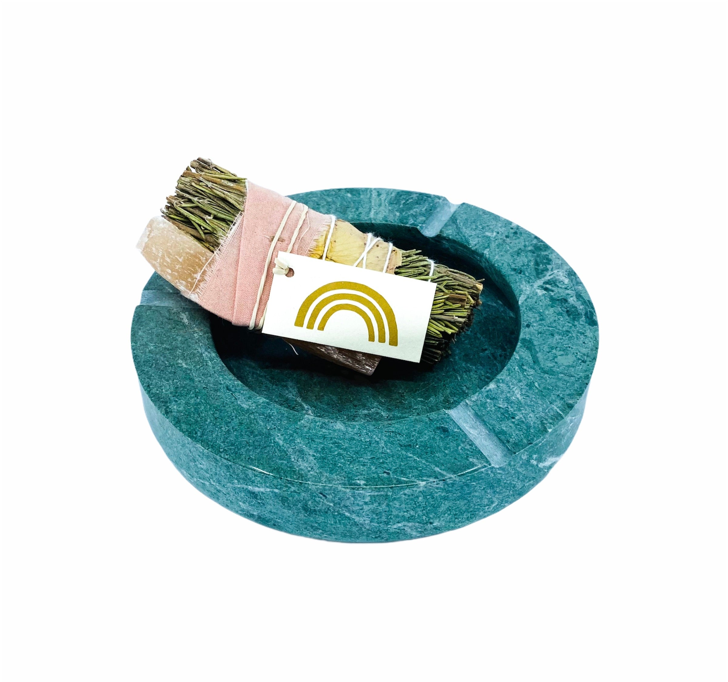 Solid Green Round Marble Ashtray
