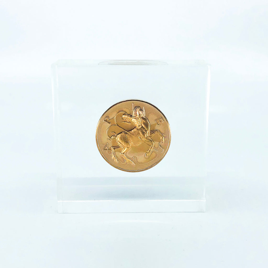 Lucite Paperweight with Gold Aries Astrology Coin