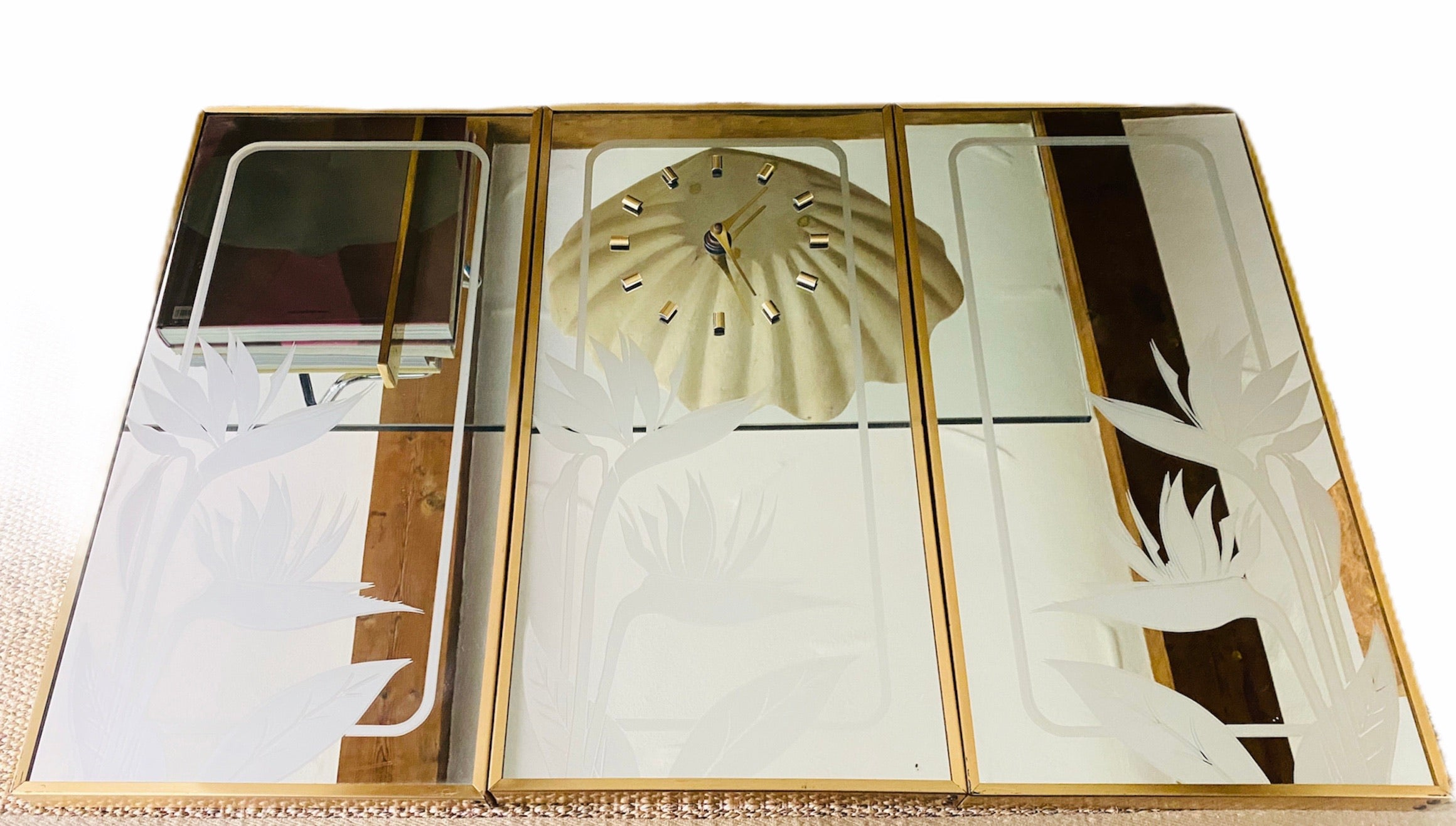 3 Panel Etched Mirrored Clock