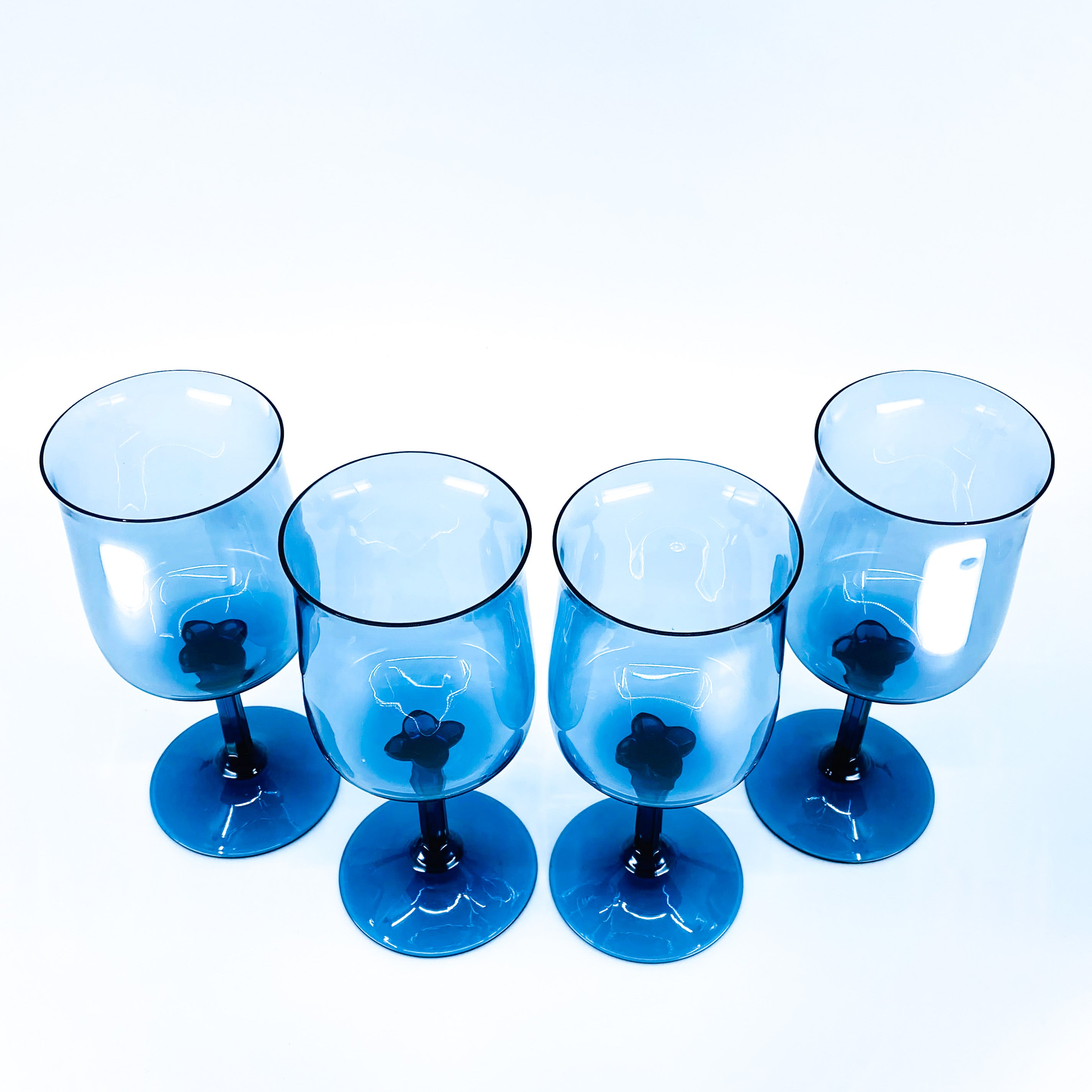 S/4 Lenox Blue Mist Tulip Shaped Wine Glasses