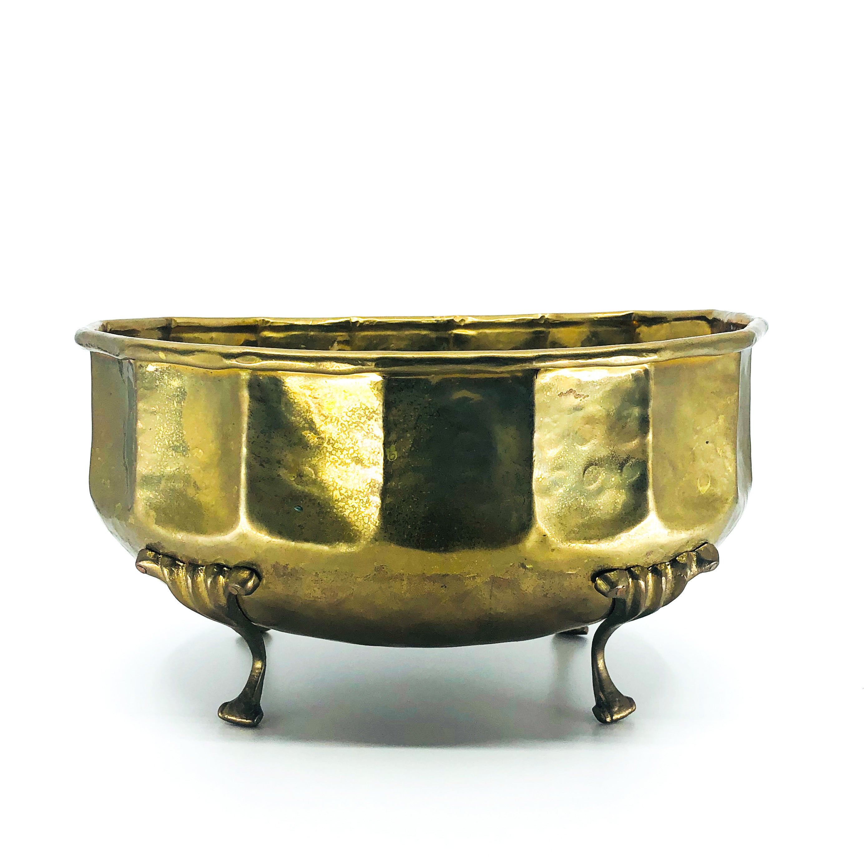 Solid Brass Cachepot with Decorative Footings