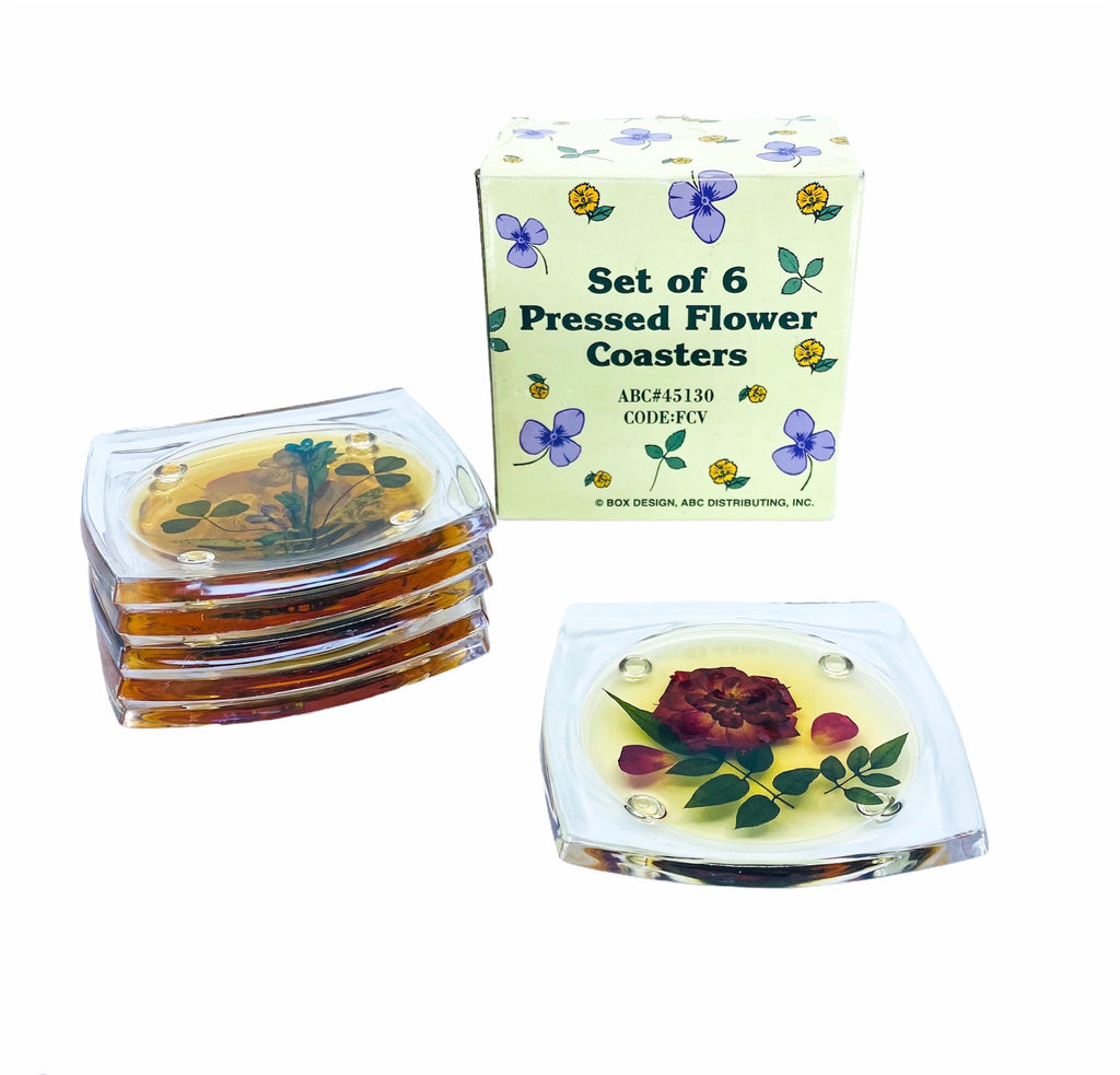 S/6 Pressed Flower Lucite Coasters