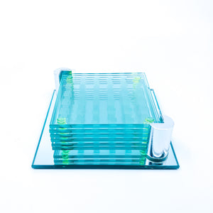 S/6 Checkered Glass Coasters