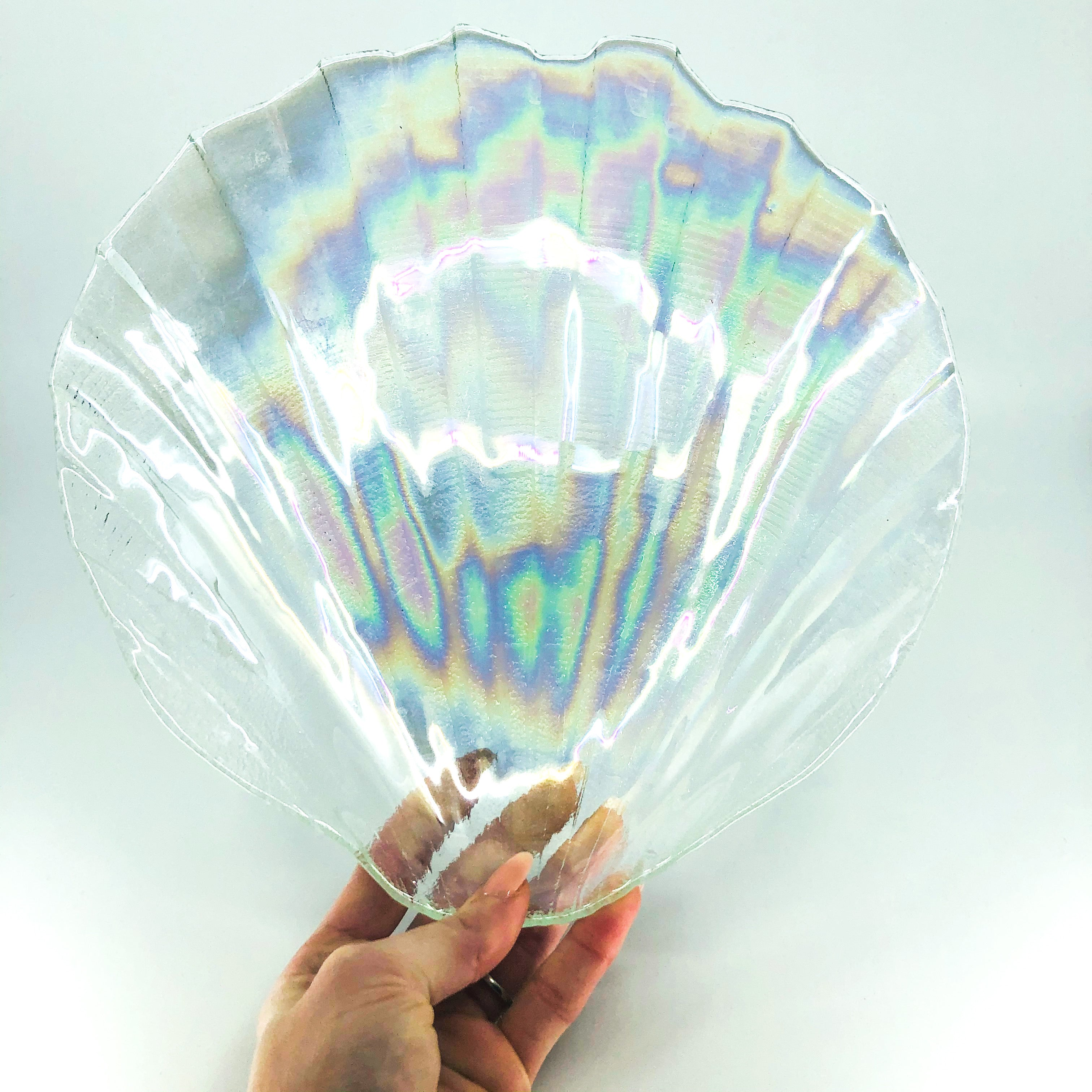 Rare 1960's Kamei Craft Japan Carnival Iridescent Glass Shell Plate