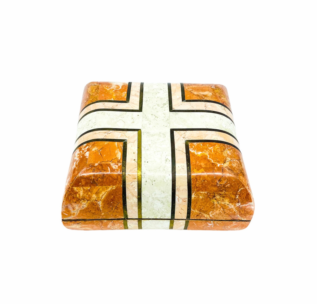 Maitland Smith Tessellated Stone with Brass Inlay Pillow Box