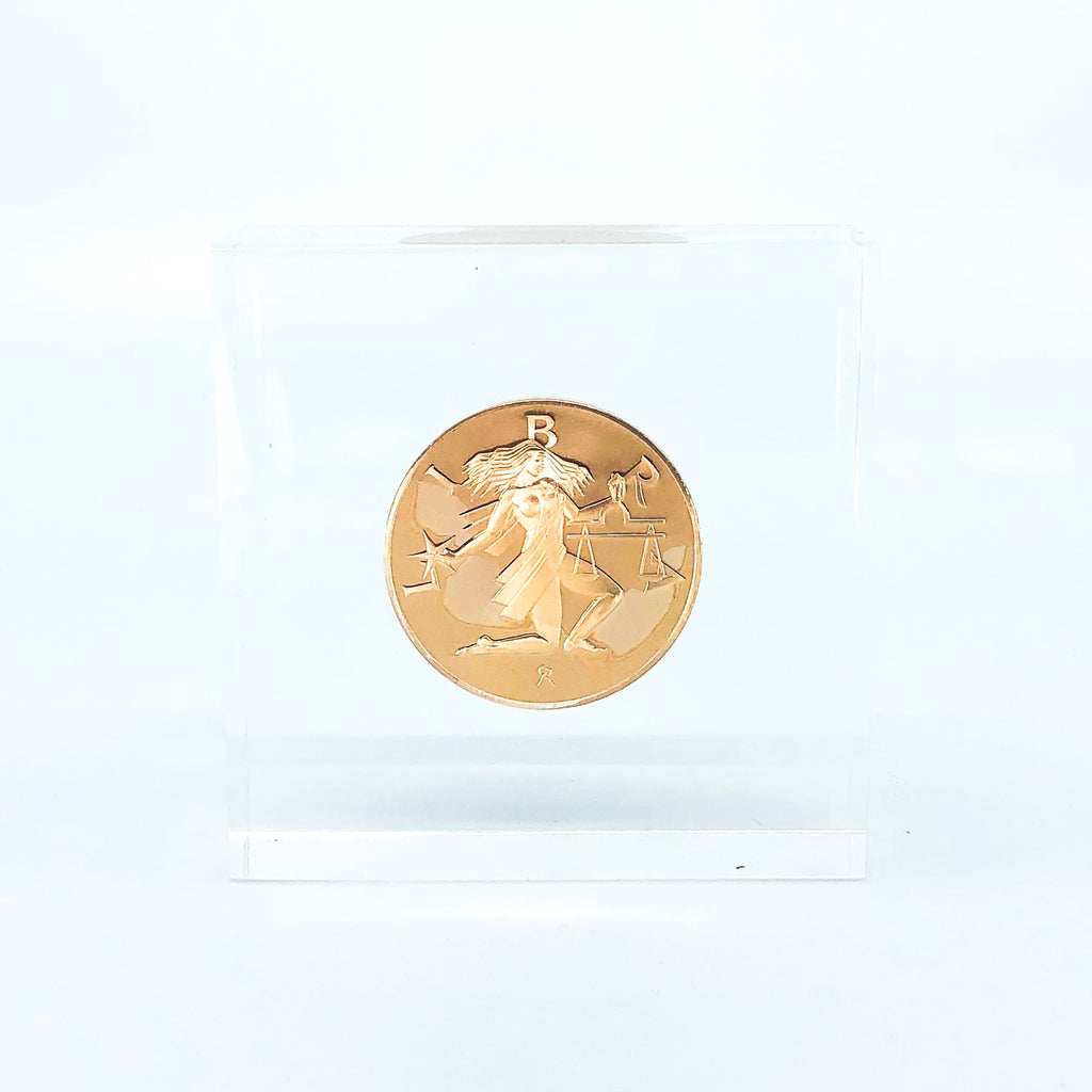 Lucite Paperweight with Gold Libra Astrology Coin