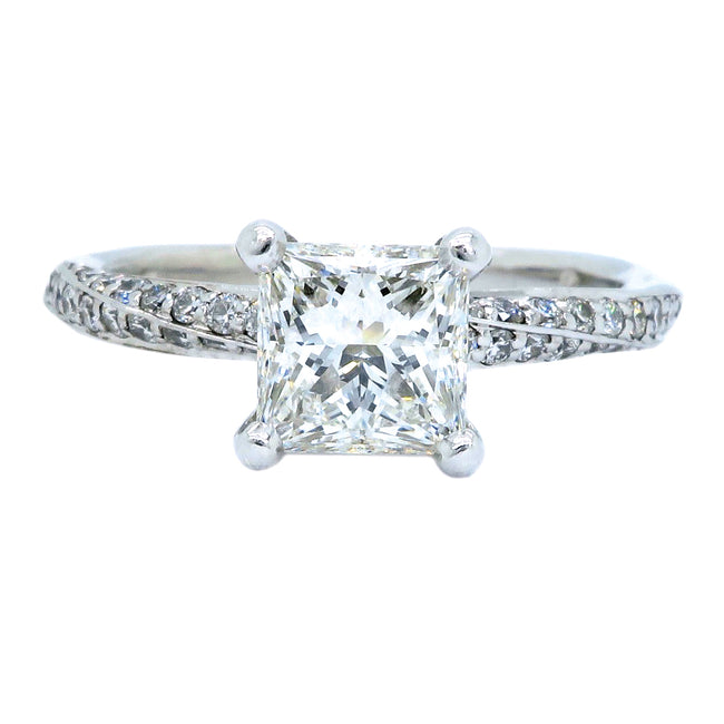 GIA Certified 1.02CT Princess Cut Diamond Engagement Ring