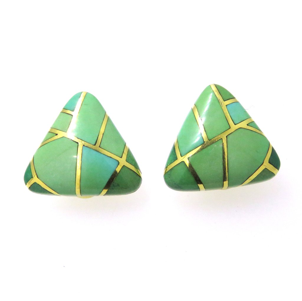 Angela Cummings Turquoise Inlay Gold Earrings - UPONPARK