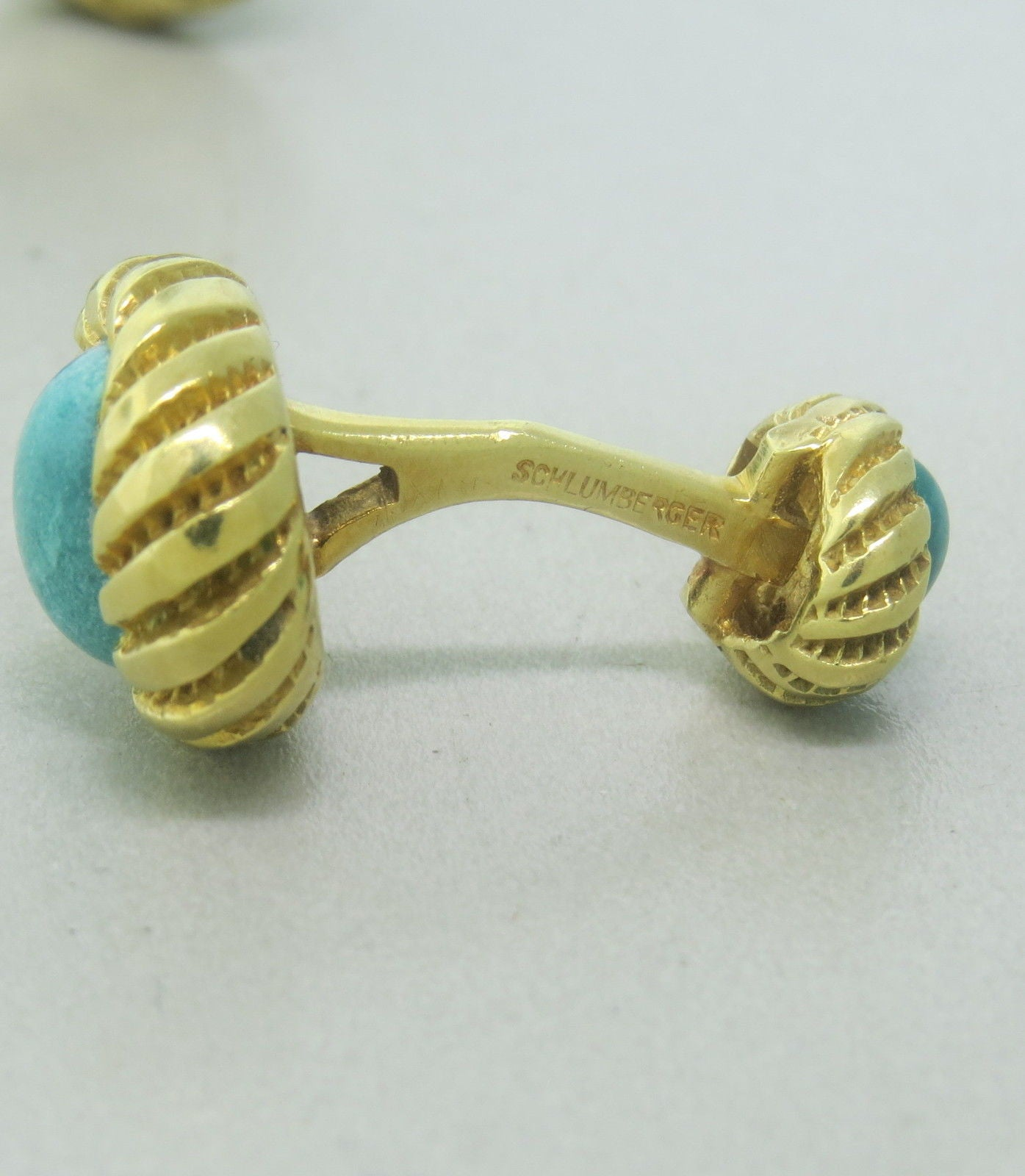 Tiffany & Co Schlumberger Gold Turquoise Cufflinks