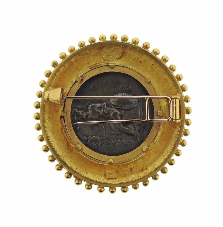 Elizabeth Locke Ancient Coin Gold Brooch Pin - UPONPARK
