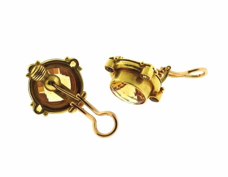 Elizabeth Locke Citrine Gold Earrings - UPONPARK