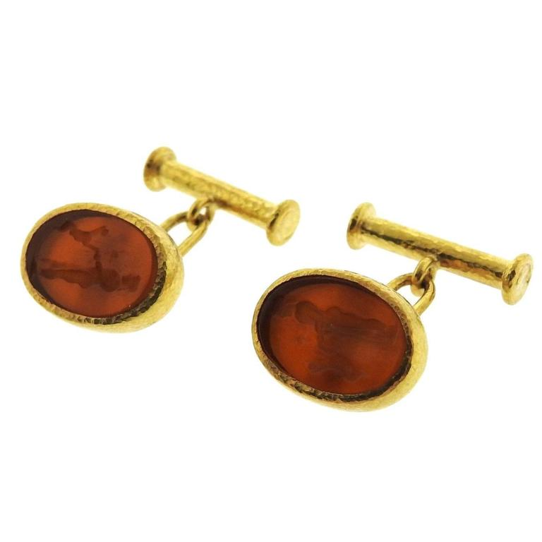 Elizabeth Locke Venetian Glass Gold Intaglio Cufflinks