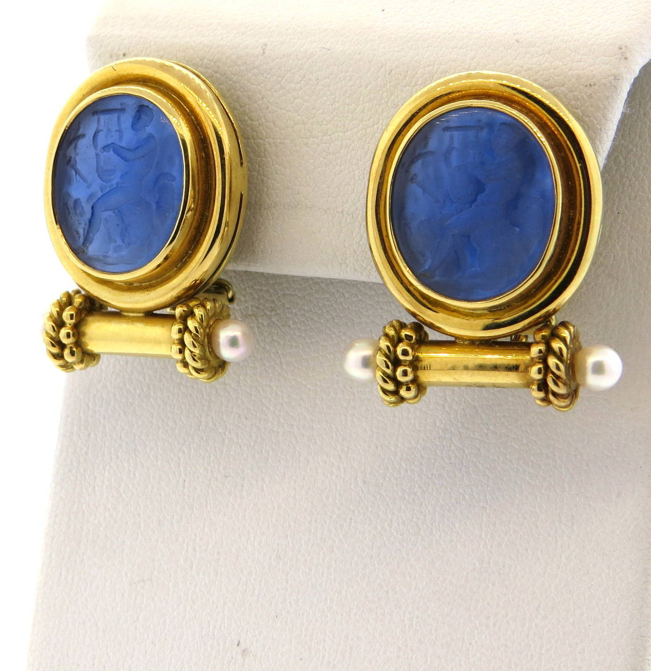 Elizabeth Locke Intaglio Venetian Glass Pearl Gold Earrings