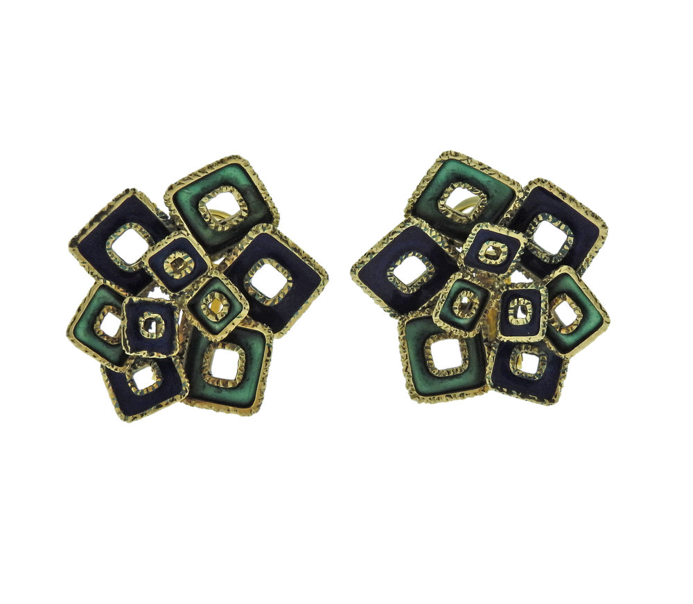1970s Blue Green Enamel Gold Earrings