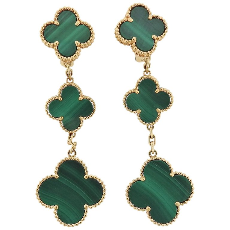 Van Cleef & Arpels Alhambra Malachite Gold Three Motif Earrings - UPONPARK