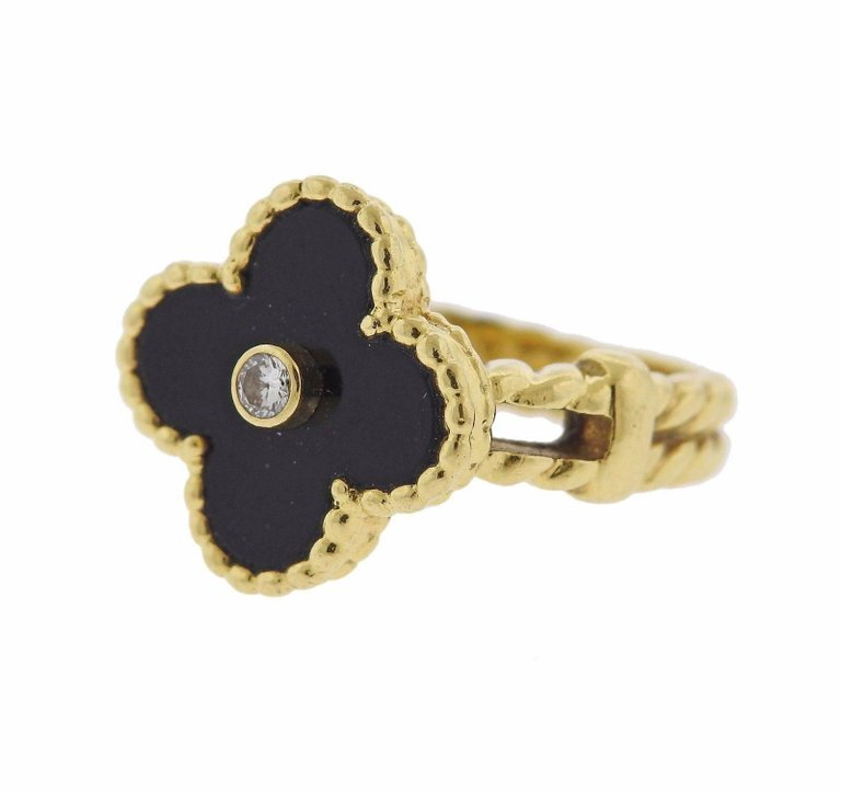 Van Cleef & Arpels Alhambra Onyx Diamond Gold Ring - UPONPARK