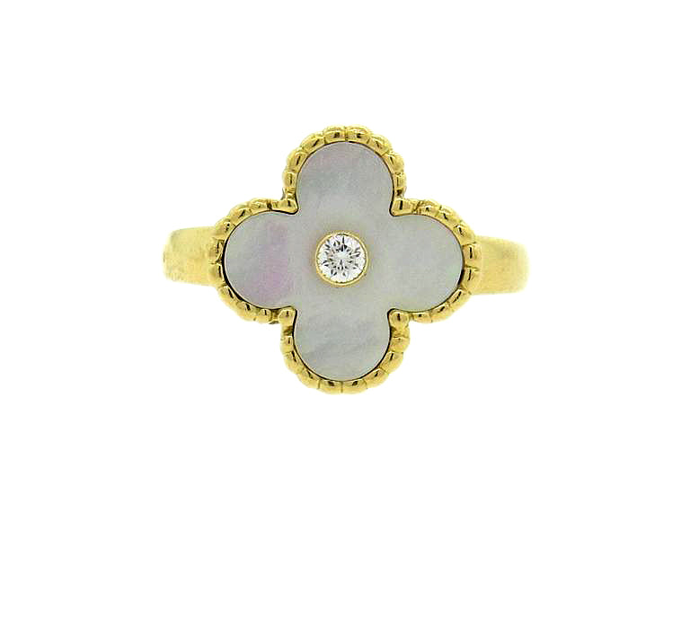 Van Cleef & Arpels Vintage Alhambra Mother of Pearl Diamond Gold Ring - UPONPARK