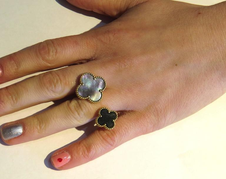 Van Cleef & Arpels Magic Alhambra Between the Finger Onyx Gold Ring - UPONPARK