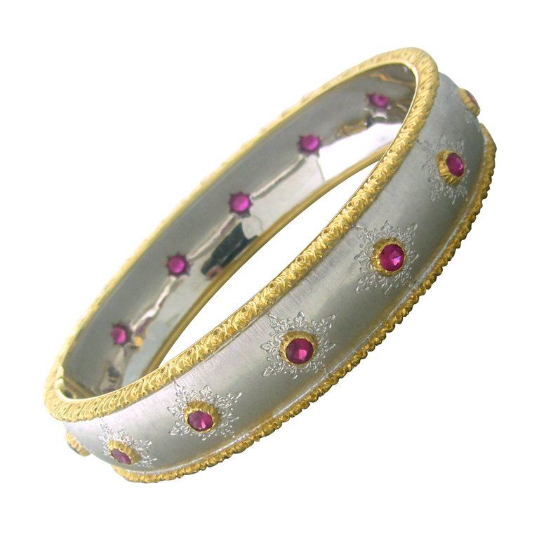 Buccellati Gold Ruby Bangle Bracelet - UPONPARK