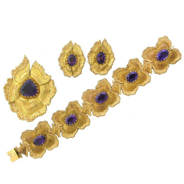Buccellati Gold Amethyst Bracelet Earrings Pin Pendant Set - UPONPARK