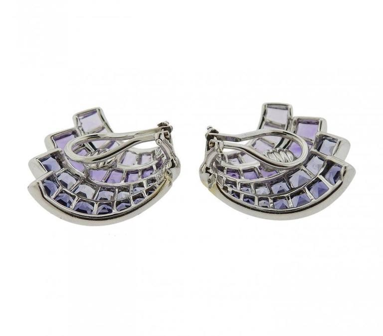 Seaman Schepps Iolite Amethyst Gold Fan Earrings - UPONPARK