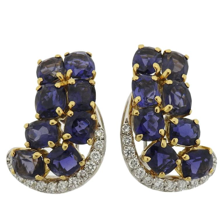 Seaman Schepps Iolite Diamond Gold Earrings - UPONPARK