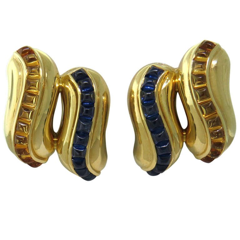 Seaman Schepps Sugarloaf Cut Sapphire Citrine Gold Earrings - UPONPARK