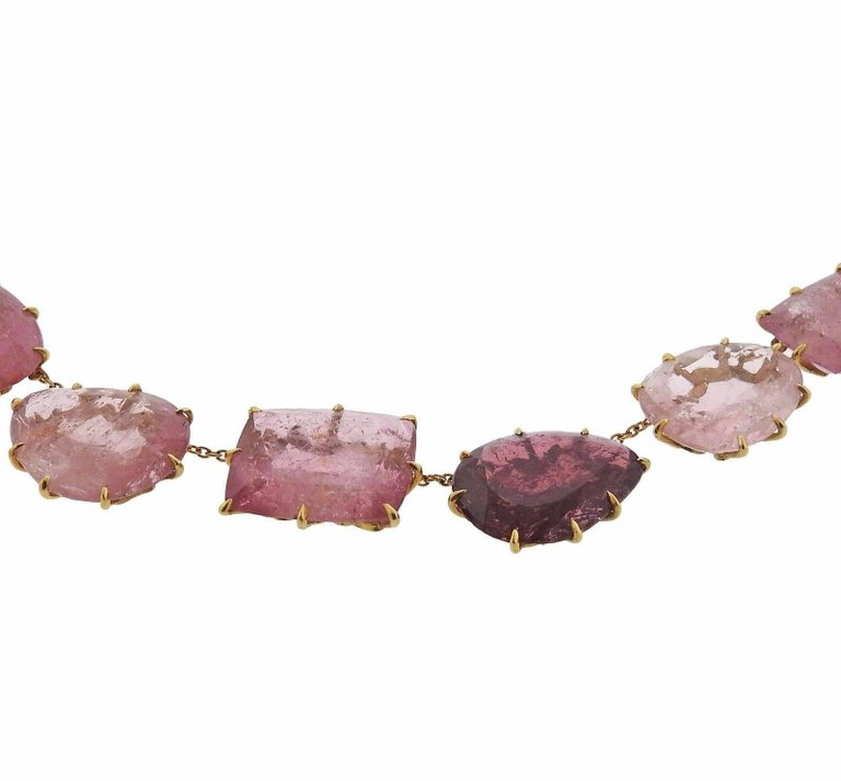 H. Stern Pink Tourmaline Gold Necklace