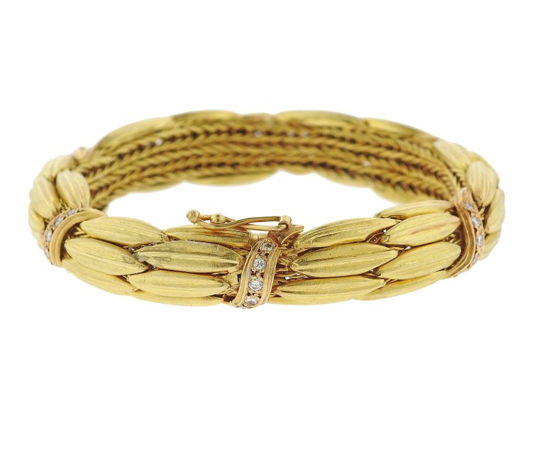 Lalaounis Greece Diamond Gold Bracelet