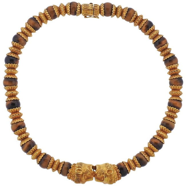 Lalaounis Greece Tiger's Eye Bead Gold Necklace - UPONPARK
