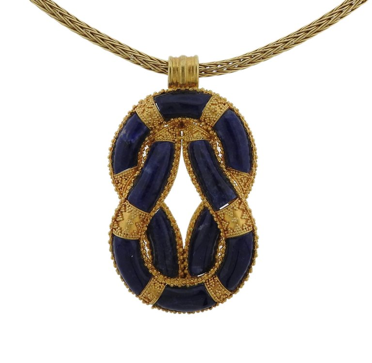 Lalaounis Greece Sodalite Knot Pendant Gold Necklace
