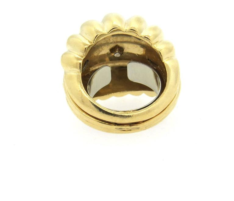 Large Retro Diamond Gold Dome Ring - UPONPARK