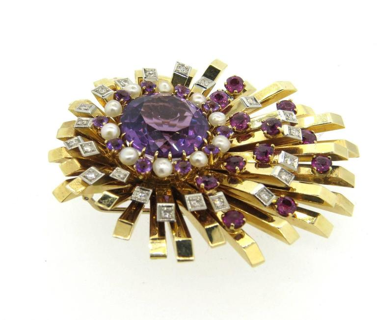 Retro Amethyst Tourmaline Pearl Gold Diamond Brooch Pin