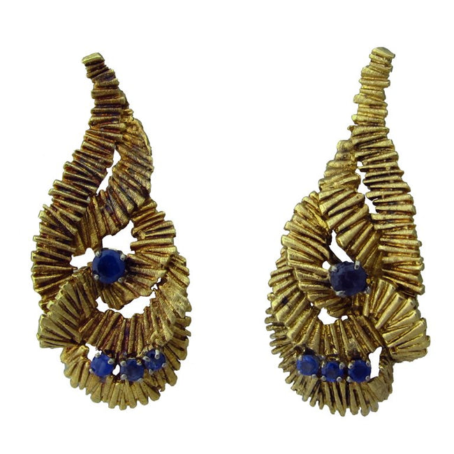 Lalaounis Gold Sapphire Earrings