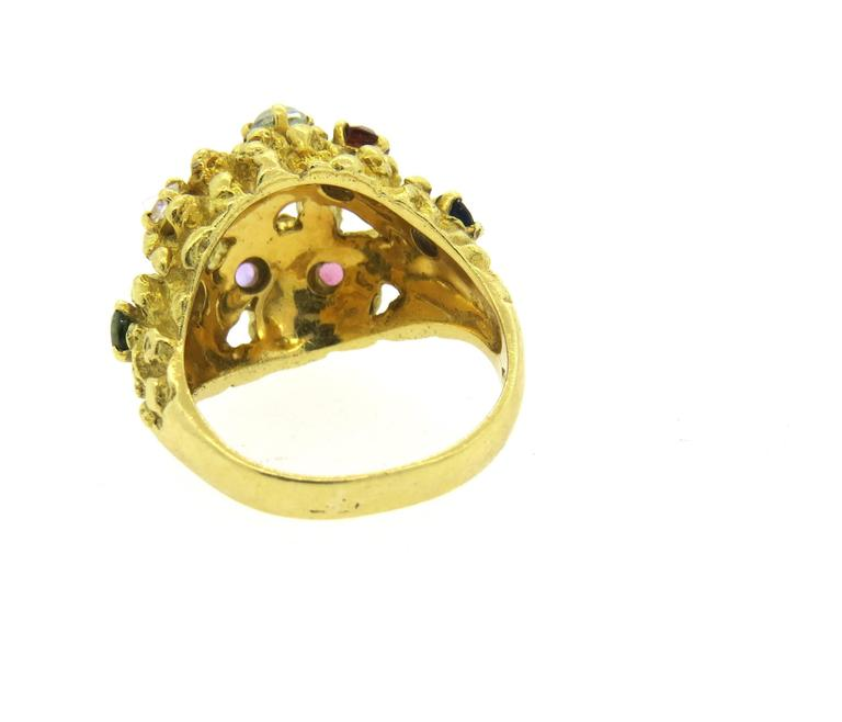 1970s H Stern Gemstone Gold Free Form Dome Ring