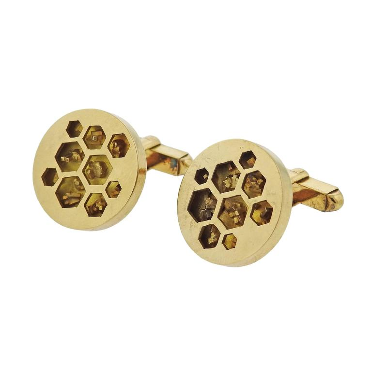 Cartier London Gold Honeycomb Cufflinks - UPONPARK