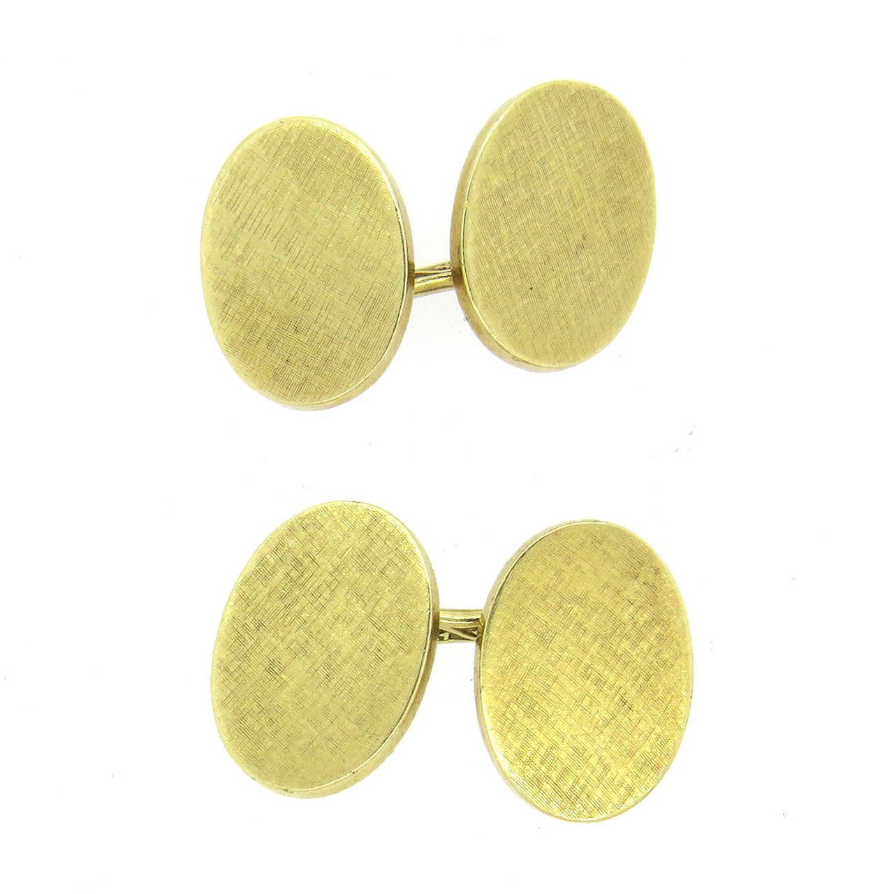 Mid Century Cartier Gold Oval Cufflinks